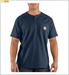 Picture of Carhartt Men's Force Cotton Short Sleeve T - Shirt Henley (100413)